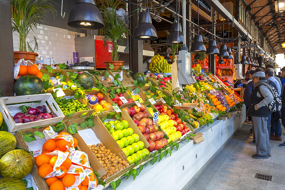 View of fruit stall inside San Miguel Market, Madrid, Spain, Europe