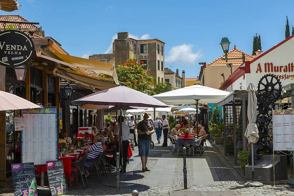View of cafes and restaurants on old town street, Funchal, Madeira, Portugal, Europe - 844-16240