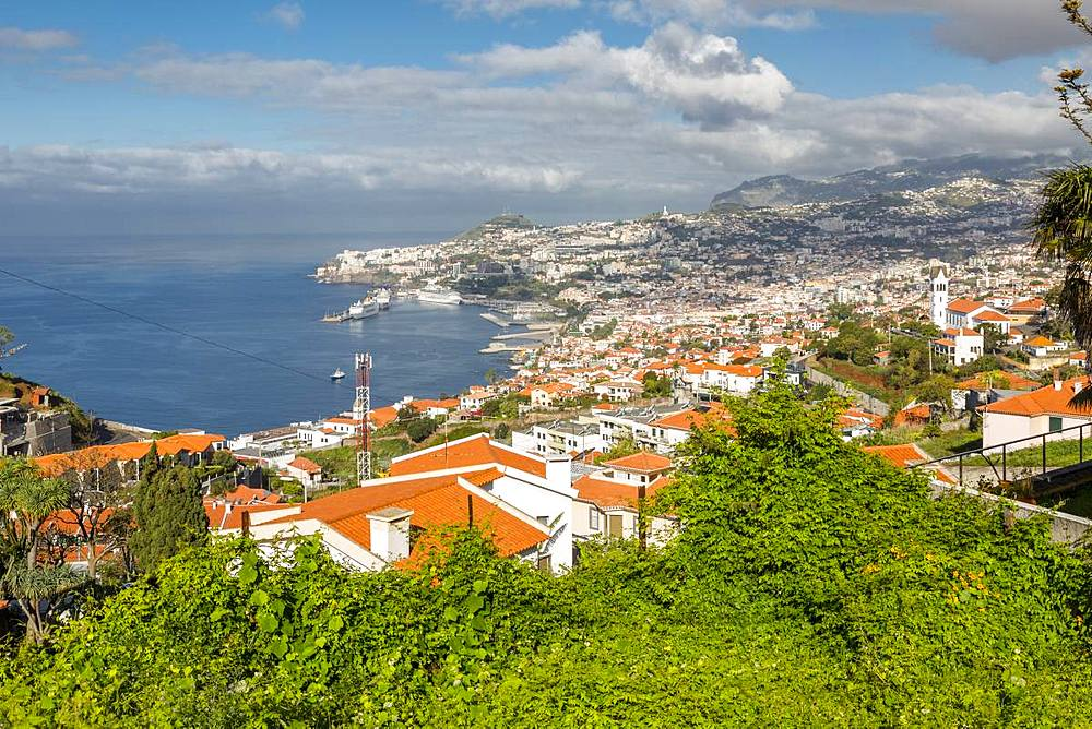 View of Church of Sao Goncalo overlooking Funchal harbour and town, Funchal, Madeira, Portugal, Atlantic, Europe