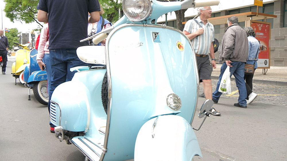 Roaming shot of vintage mopeds at spring festival, Funchal, Madeira, Portugal, Europe