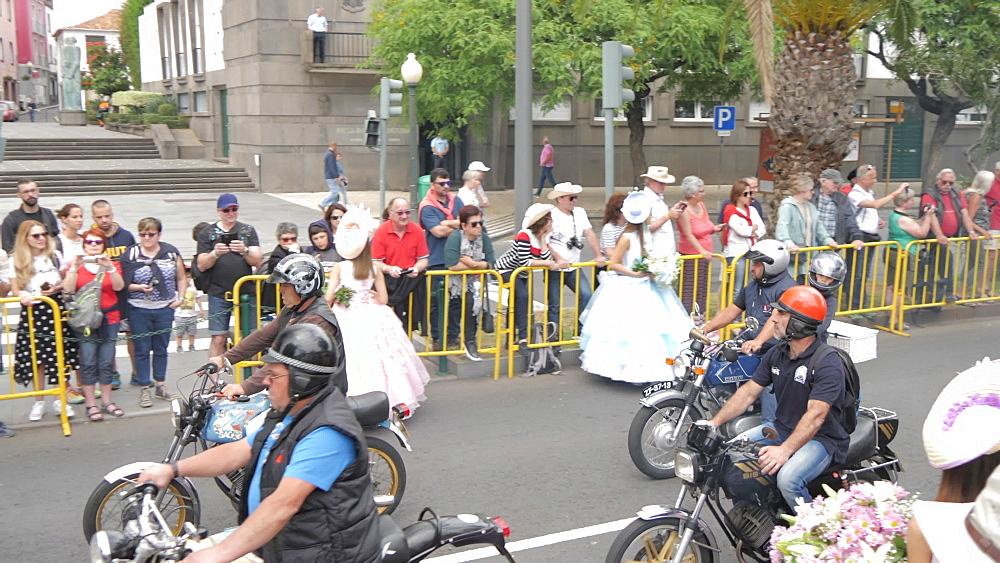 Roaming shot of vintage motor cycles parade at spring festival, Funchal, Madeira, Portugal, Europe