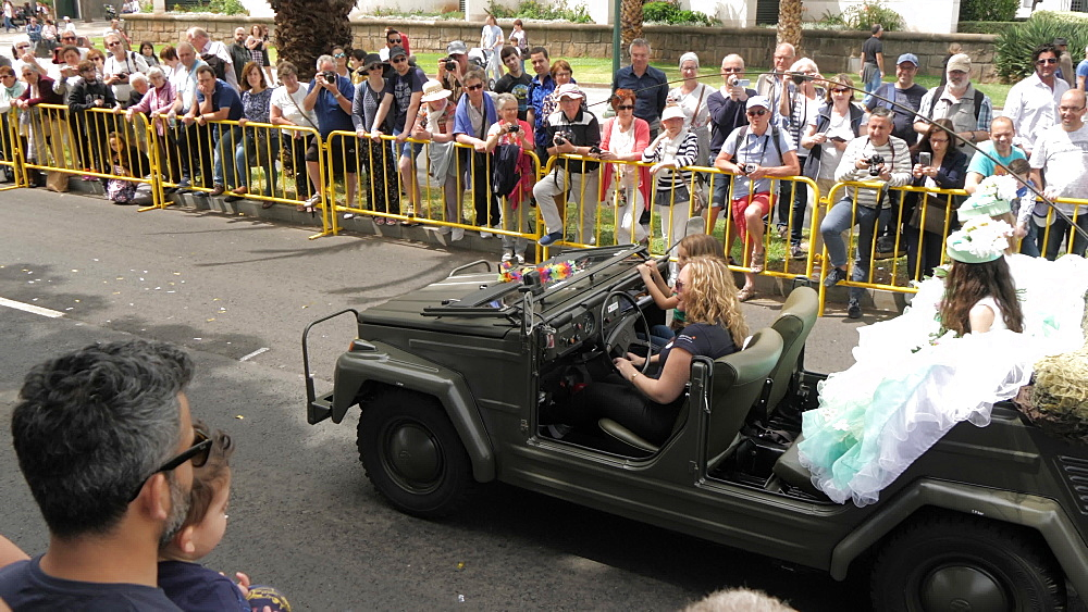 Roaming shot of vintage cars parade at spring festival, Funchal, Madeira, Portugal, Europe