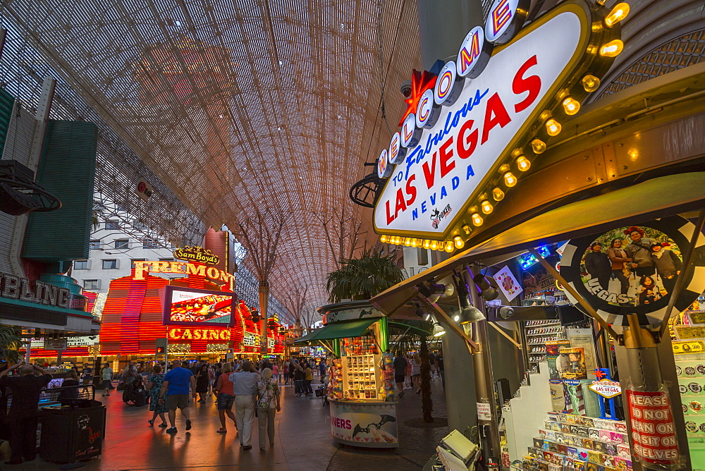 Neon lights on the Fremont Street Experience at dusk, Downtown, Las Vegas, Nevada, United States of America, North America