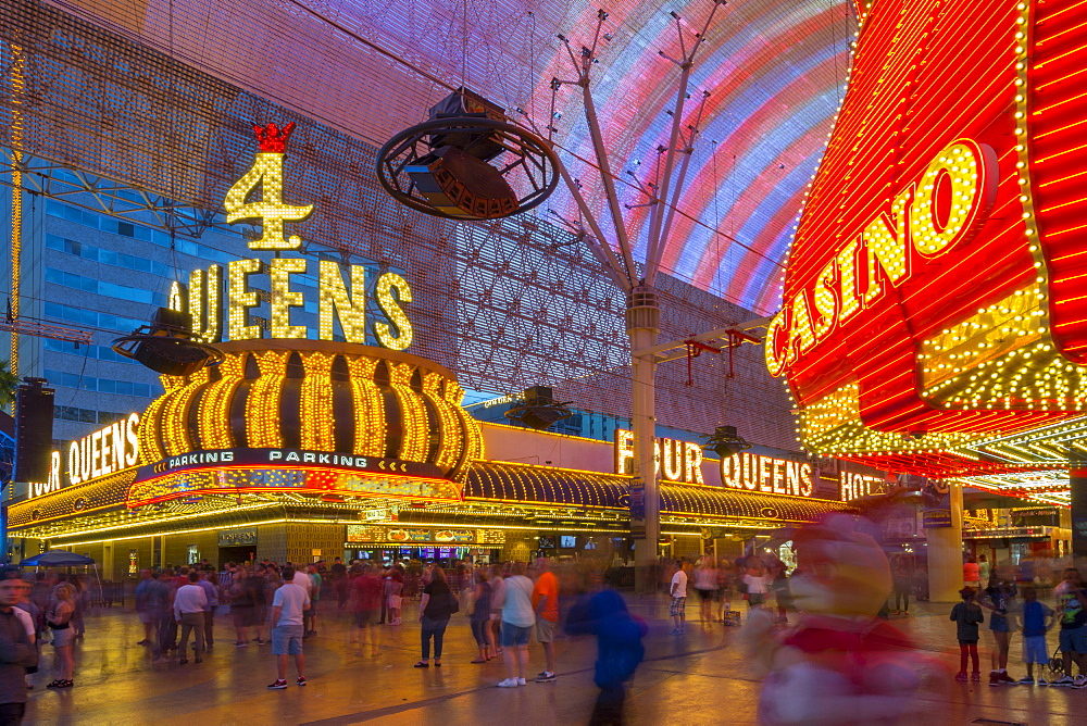 Neon lights on the Fremont Street Experience at dusk, Downtown, Las Vegas, Nevada, USA, North America