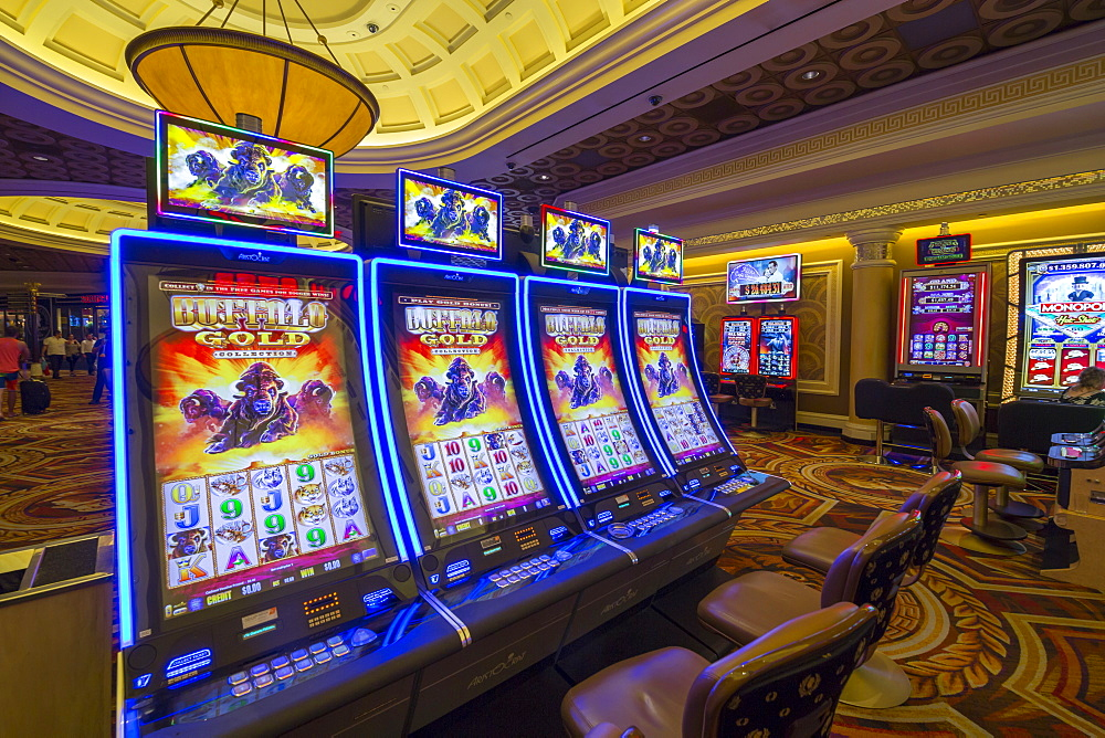 Gambling machines in Caesars Palace Hotel and Casino, Las Vegas, Nevada, USA, North America