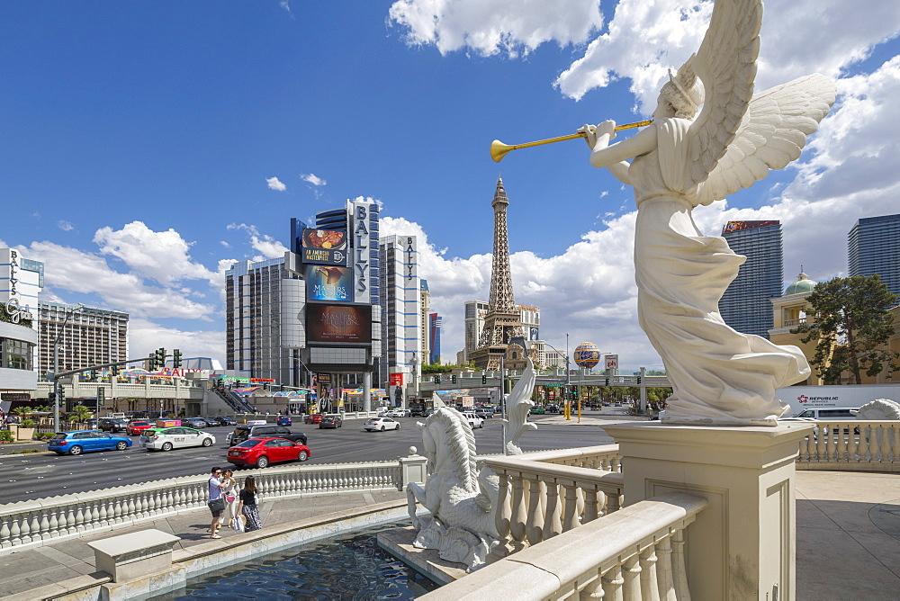 View of Paris Eiffel Tower from Caesars Palace Hotel and Casino, 'The Strip' Las Vegas Boulevard, Las Vegas, Nevada, USA, North America