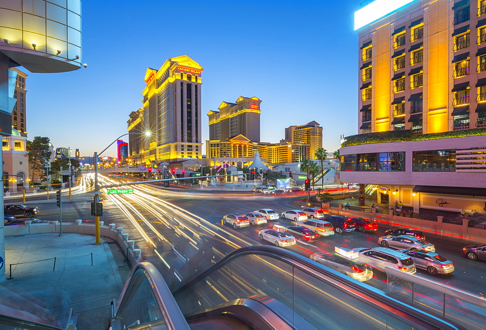 View of traffic and trail lights on The Strip at dusk, Las Vegas Boulevard, Las Vegas, Nevada, United States of America, North America