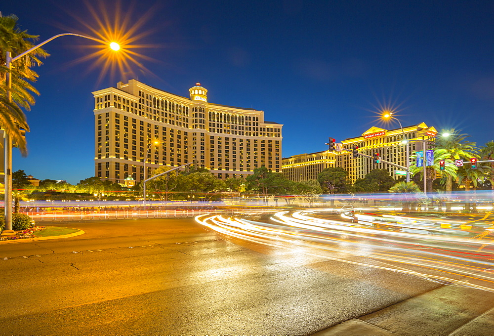 View of Bellagio Hotel and Casino on The Strip, Las Vegas Boulevard at dusk, Las Vegas, Nevada, United States of America, North America