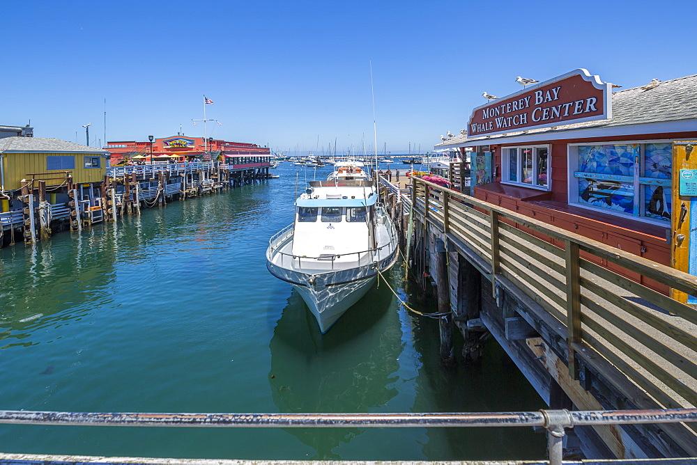View of Fisherman's Wharf from pier, Monterey Bay, Peninsula, Monterey, California, United States of America, North America