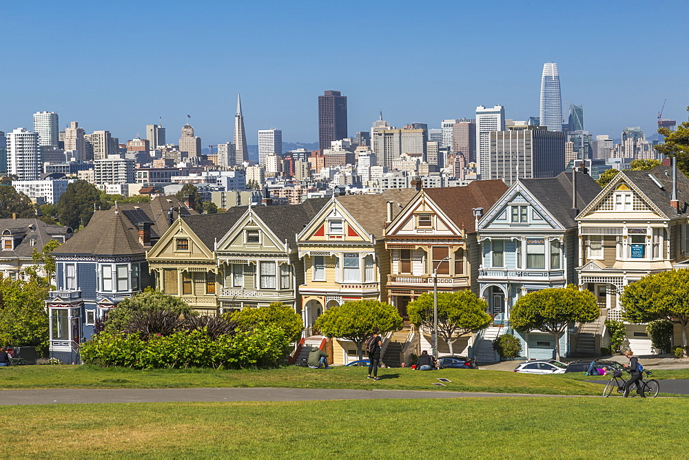 View of Painted Ladies, Victorian wooden houses, Alamo Square, San Francisco, California, USA, North America - 844-16964