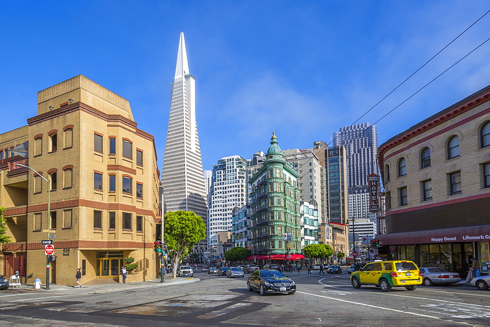 View of Transamerica Pyramid building on Columbus Avenue, Downtown, San Francisco, California, United States of America, North America