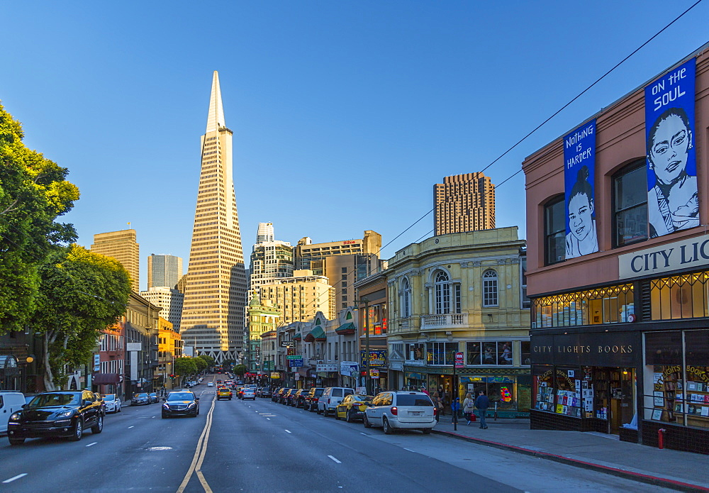 View of Transamerica Pyramid building on Columbus Avenue, North Beach, San Francisco, California, United States of America, North America