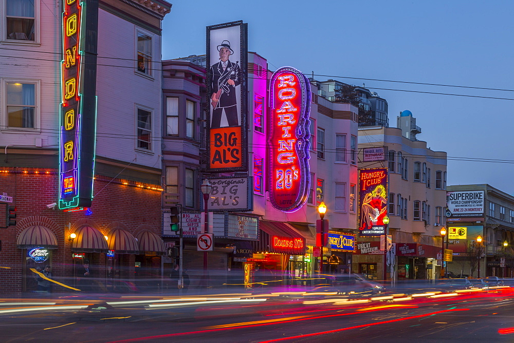 Club signs on buildings in North Beach district, San Francisco, California, United States of America, North America