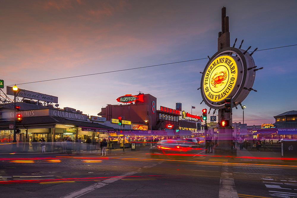 View of Fishermans Wharf sign illuminated at dusk, San Francisco, California, United States of America, North America