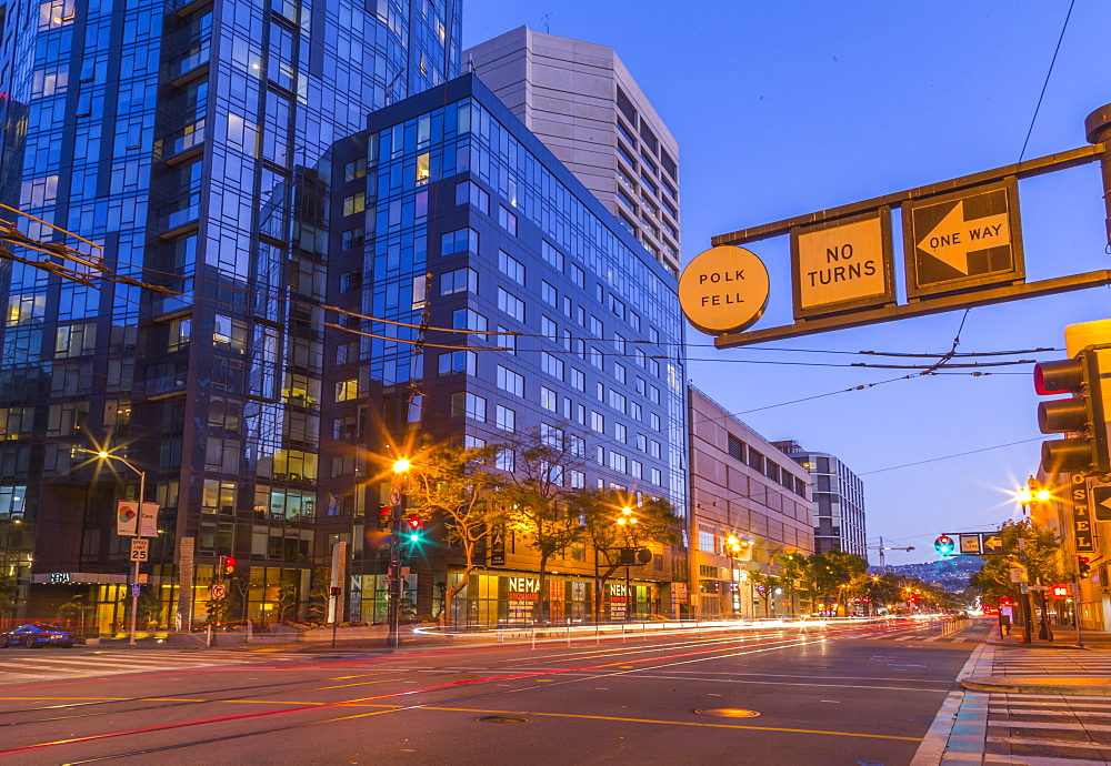 View of Market Street at dusk, San Francisco, California, United States of America, North America - 844-17013