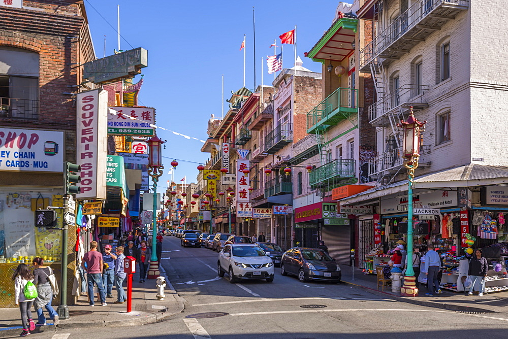 View of busy street in Chinatown, San Francisco, California, United States of America, North America - 844-17019