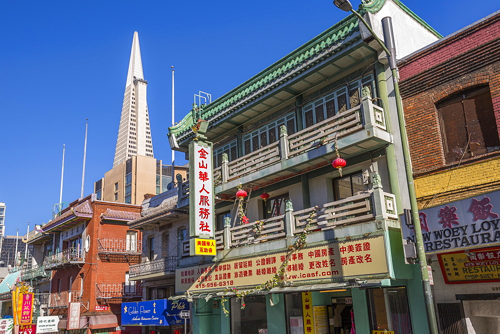 View of Transamerica Pyramid from Chinatown, San Francisco, California, United States of America, North America
