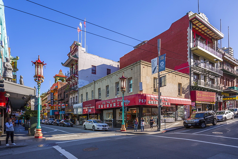 View of traditionally decorated street in Chinatown, San Francisco, California, United States of America, North America - 844-17023