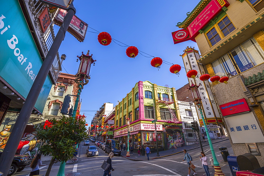 View of traditionally decorated street in Chinatown, San Francisco, California, United States of America, North America - 844-17025