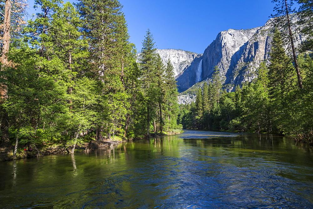 View of Merced River and Upper Yosemite Falls, Yosemite National Park, UNESCO World Heritage Site, California, USA, North America - 844-17035