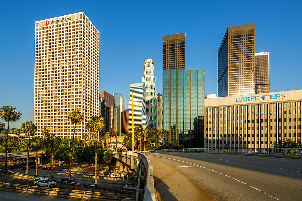 View of Downtown skyline during golden hour, Los Angeles, California, United States of America, North America