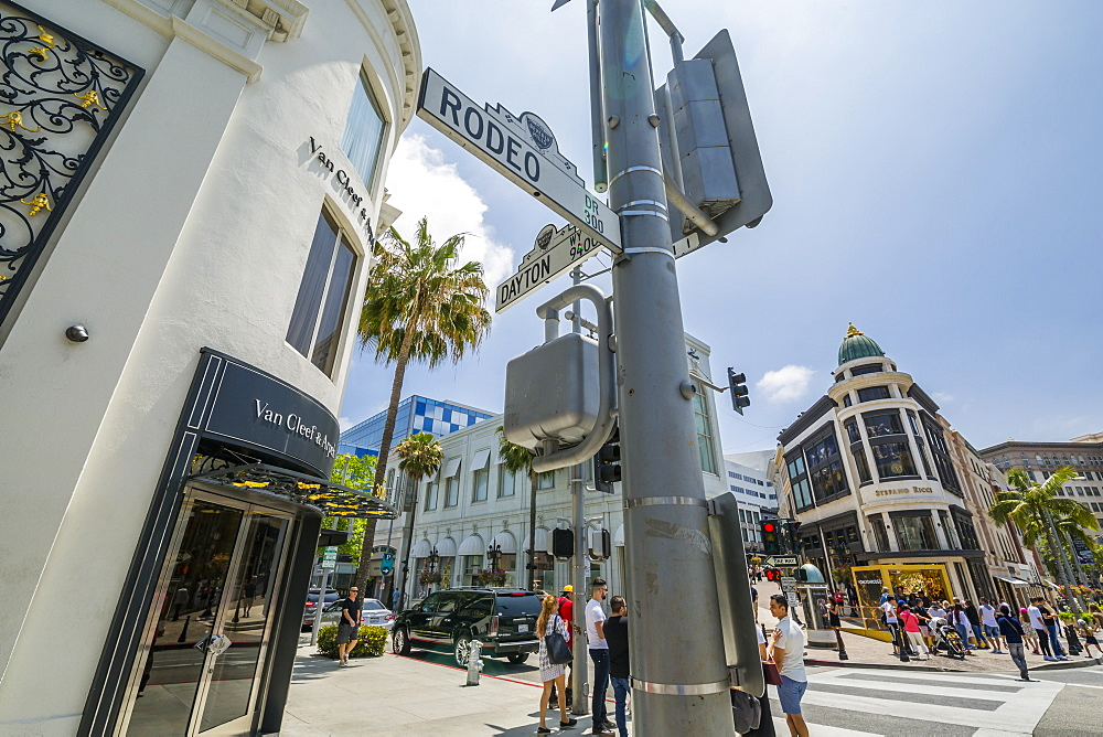 View of shops on Rodeo Drive, Beverly Hills, Los Angeles, California, United States of America, North America