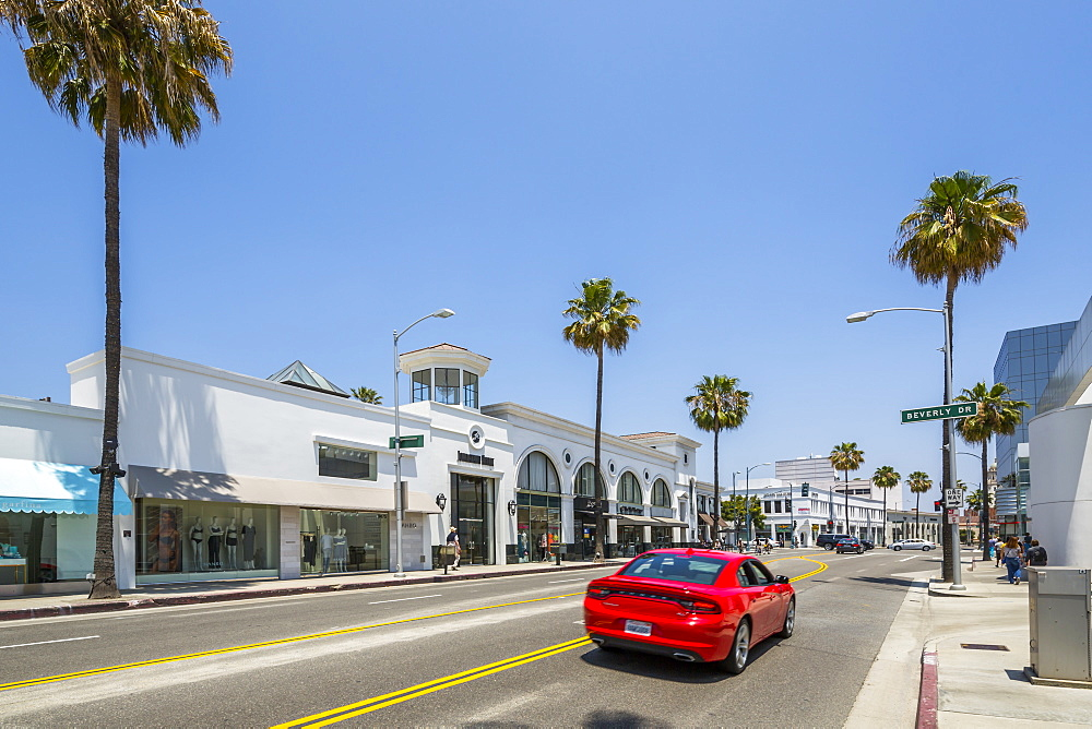 View of shops and palm trees on Santa Monica Boulevard, Beverley Hills, Los Angeles, California, United States of America, North America