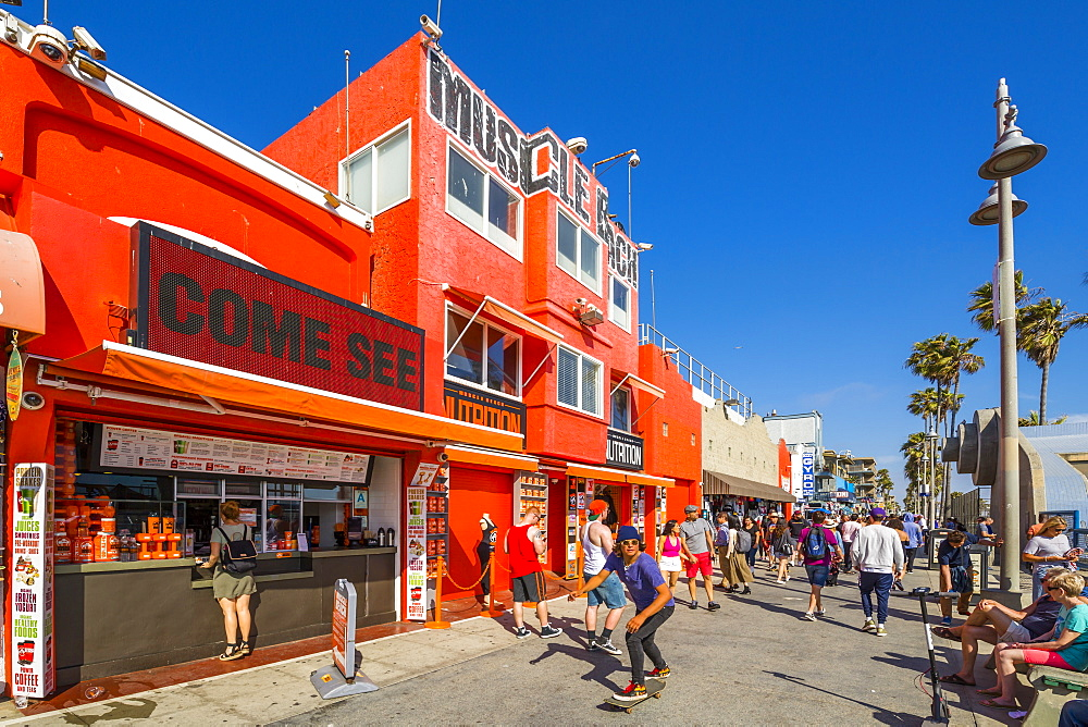View of colourful shops on Ocean Front Walk in Venice Beach, Los Angeles, California, United States of America, North America