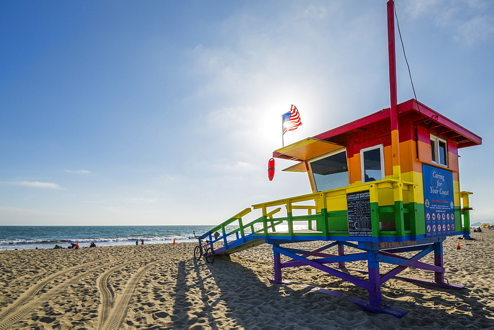 View of Lifeguard Watchtower on Venice Beach, Los Angeles, California, United States of America, North America