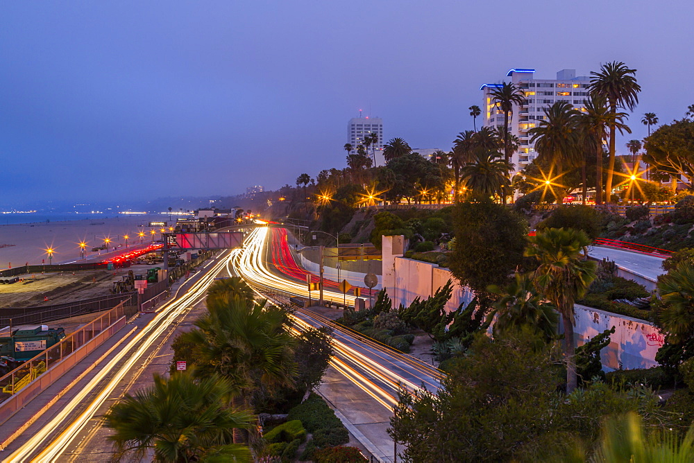 View of Pacific Coastal Highway at dusk, Santa Monica, Los Angeles, California, United States of America, North America
