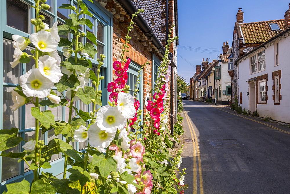 View of side street and summer blooms, Blakeney, Norfolk, England, United Kingdom, Europe