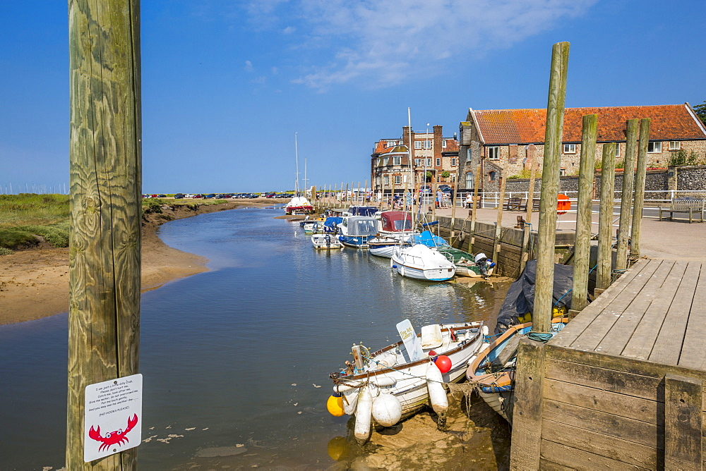 View of Quayside on a summer day, Blakeney, Norfolk, England, United Kingdom, Europe