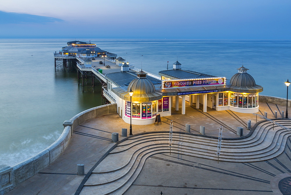 View of Cromer Pier at dusk, Cromer, Norfolk, England, United Kingdom, Europe - 844-17101
