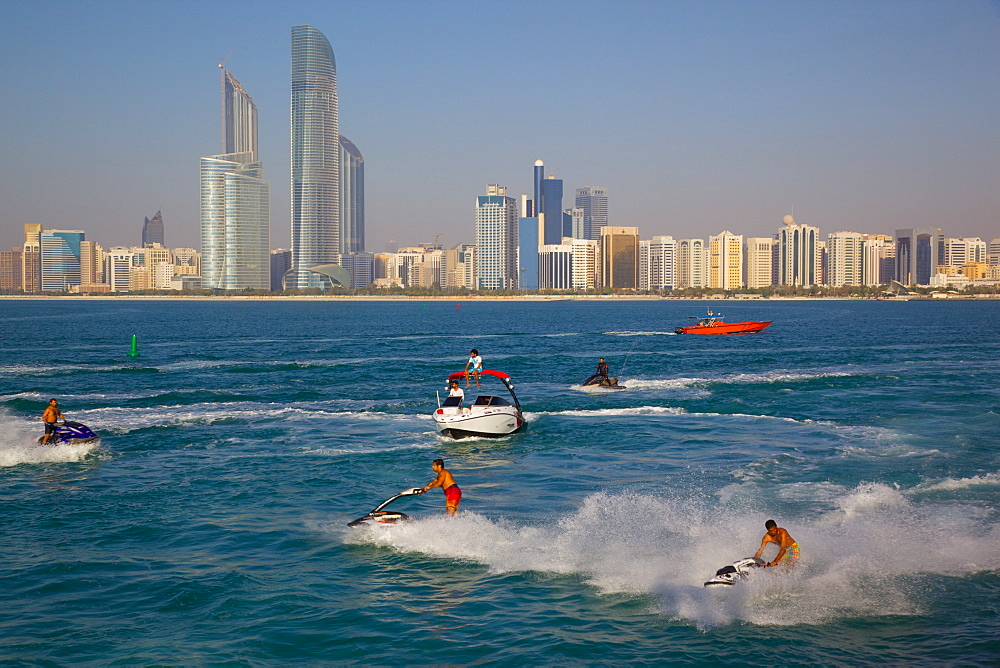 View of city from Marina and Jet ski Water sport, Abu Dhabi, United Arab Emirates, Middle East