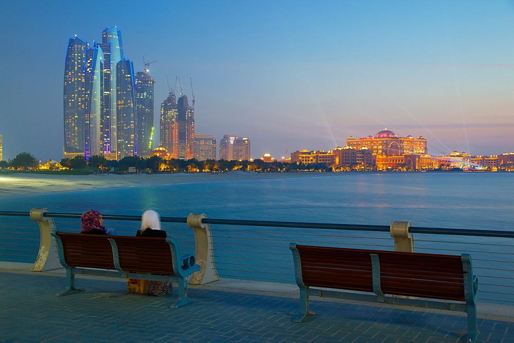 Emirate Towers and Emirates Palace at night, Abu Dhabi, United Arab Emirates, Middle East