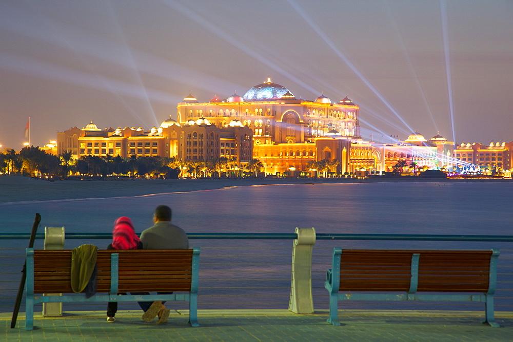 Emirates Palace at night, Abu Dhabi, United Arab Emirates, Middle East