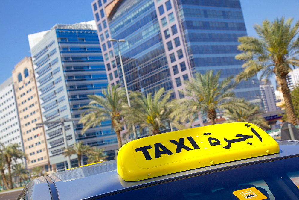 Madinat Zayed Shopping and Gold Centre and taxi, Abu Dhabi, United Arab Emirates, Middle East