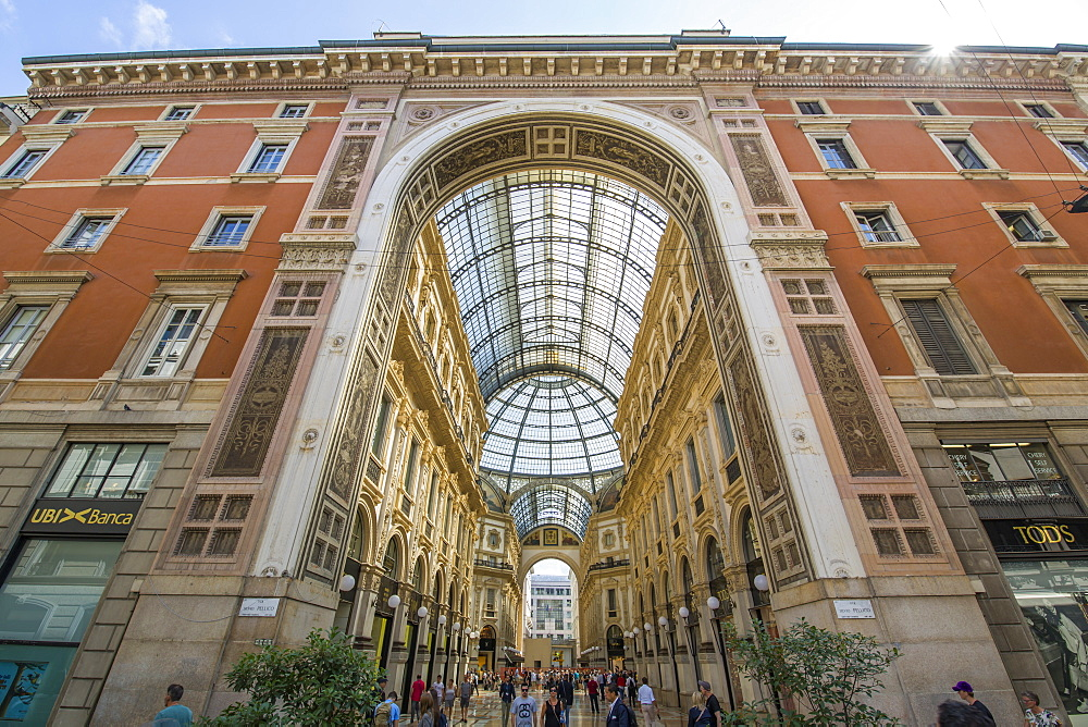 View of the exterior of Galleria Vittorio Emanuele II, Milan, Lombardy, Italy, Europe