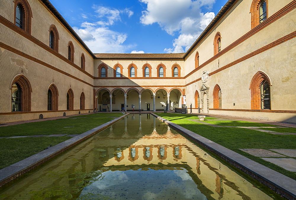 View of Castello Sforzesco (Sforza Castle) on a bright sunny day, Milan, Lombardy, Italy, Europe