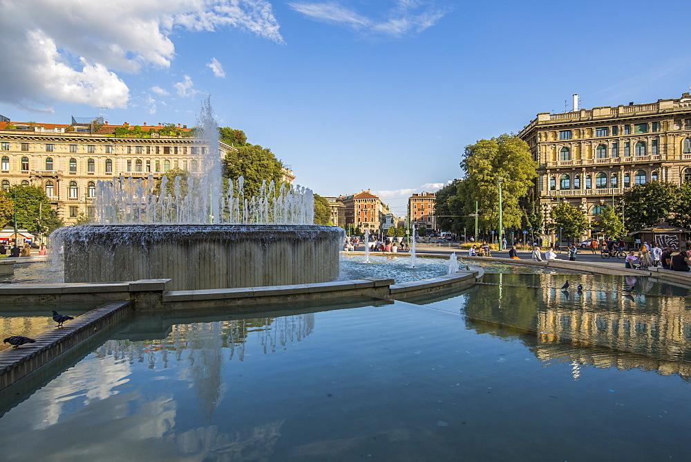 View of fountain close to Castello Sforzesco (Sforza Castle) on a bright sunny day, Milan, Lombardy, Italy, Europe