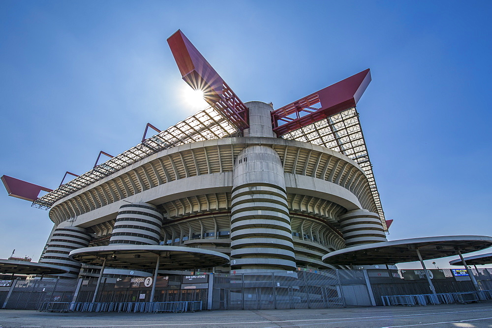 View of San Siro Stadium on a sunny day, Milan, Lombardy, Italy, Europe