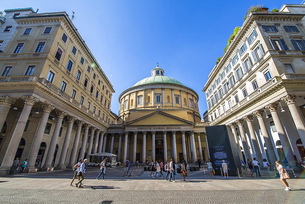 View of Basilica of San Carlo al Corso in Piazza San Carlo, Milan, Lombardy, Italy, Europe