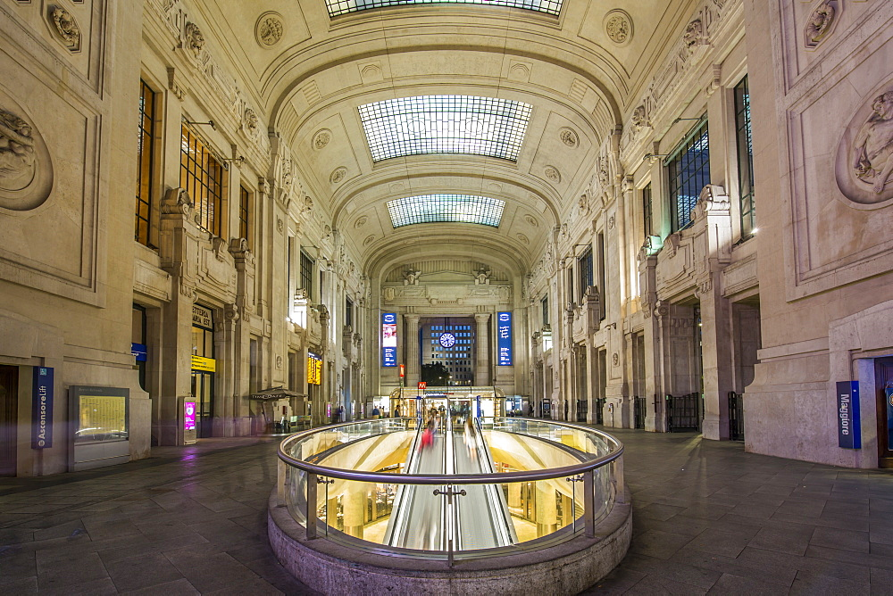 View of interior of Milan Central Station at dusk, Milan, Lombardy, Italy, Europe