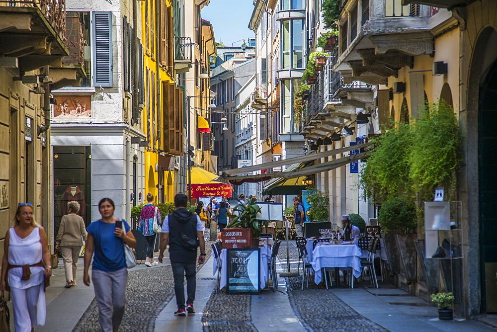 Restaurants and bars and colourful architecture on Via Fiori Chiari in Brera District, Milan, Lombardy, Italy, Europe