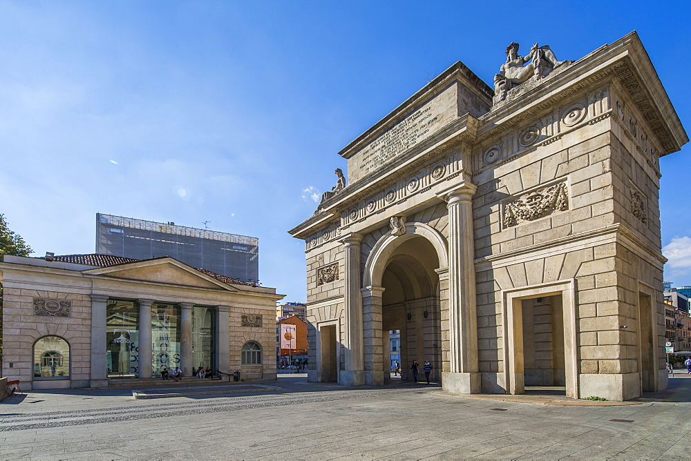 View of Porta Garibaldi in Piazza XXV Aprile, Milan, Lombardy, Italy, Europe