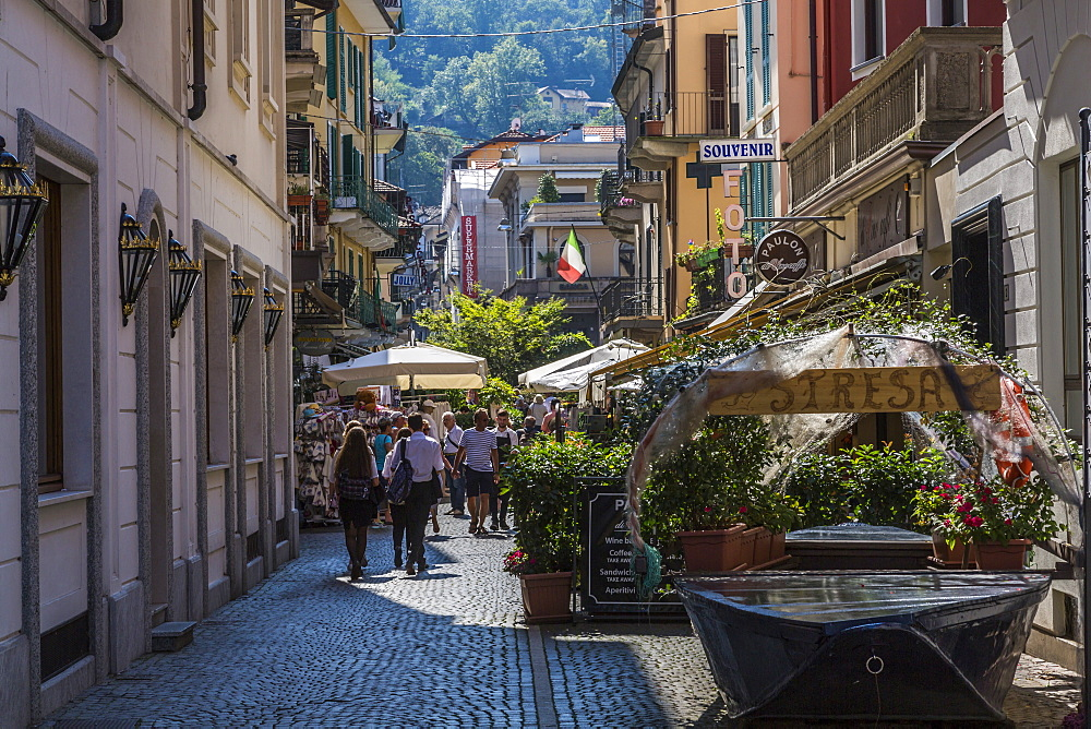 View of busy street in Stresa, Lago Maggiore, Piedmont, Italy, Europe - 844-17867