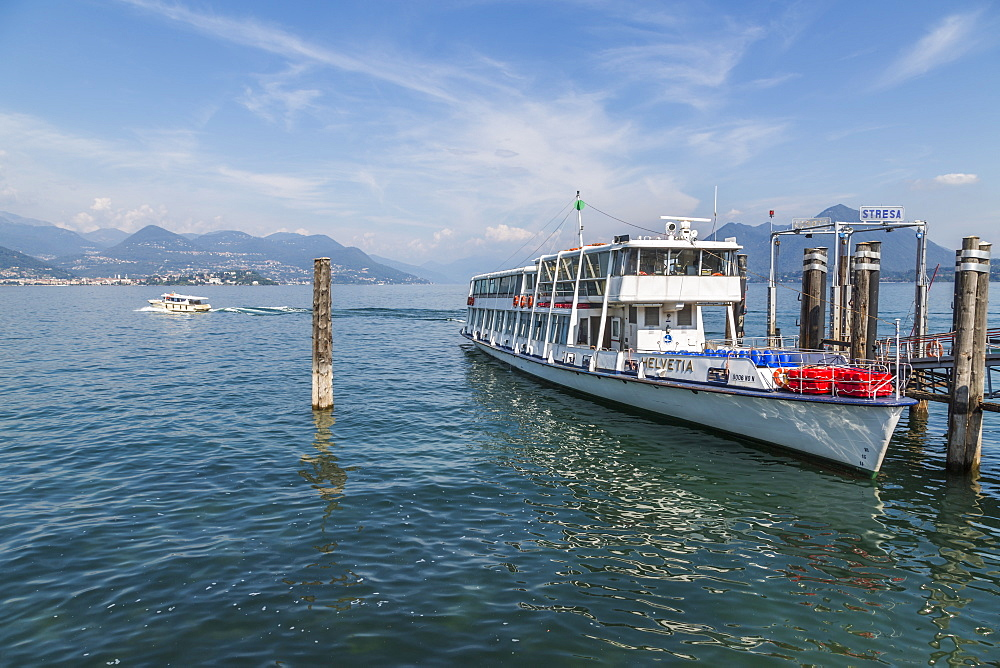 View of sightseeing boat docked at Stresa, Lago Maggiore, Piedmont, Italy, Europe - 844-17868
