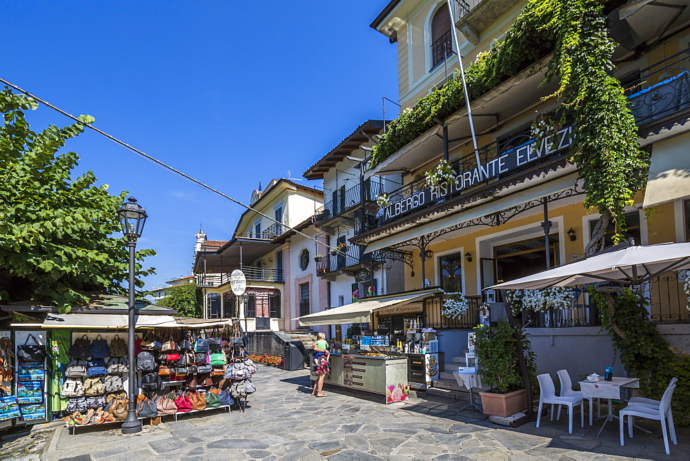 Souvenirs stalls and cafe on Isola dei Pescatori, Borromean Islands, Lago Maggiore, Piedmont, Italian Lakes, Italy, Europe