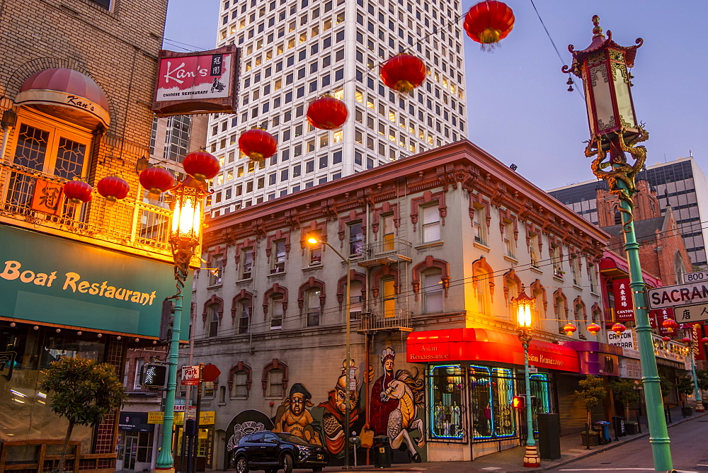 View of lanterns on street in Chinatown, San Francisco, California, United States of America, North America