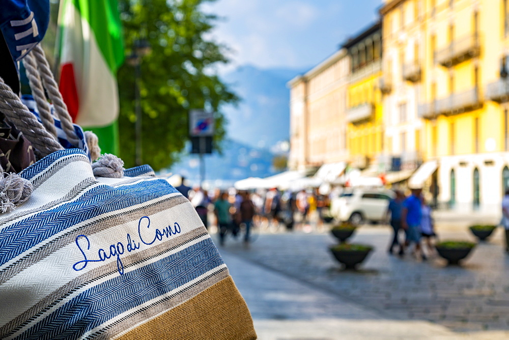 View of souvenir bags and shopping in Como, Province of Como, Lake Como, Lombardy, Italian Lakes, Italy, Europe